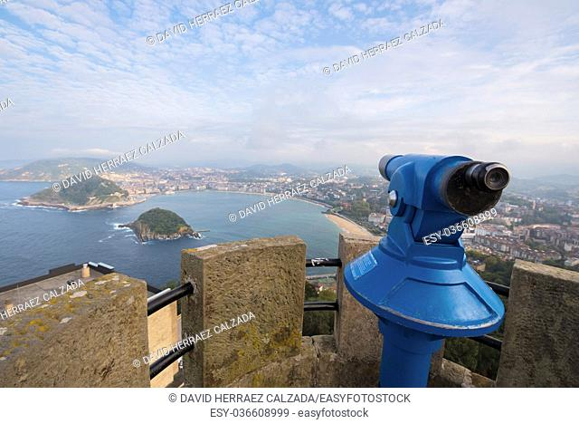 San Sebastian bay viewed from Igueldo mount, Basque Country, Spain