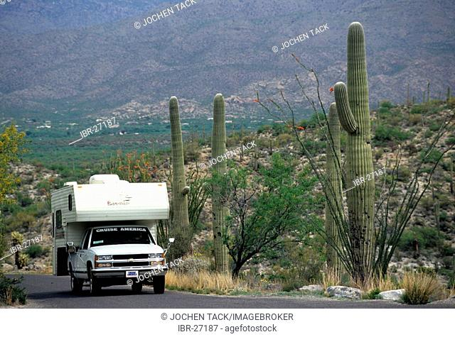 USA, United States of America, Arizona: Camp ground in the Saguaro National Park.Traveliing in a Motorhome, RV, through the west of the US