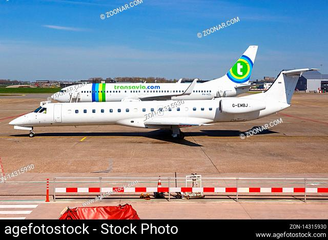 Rotterdam, Netherlands ? April 20, 2015: BMI Regional Embraer 145 airplane at Rotterdam The Hague airport (RTM) in the Netherlands