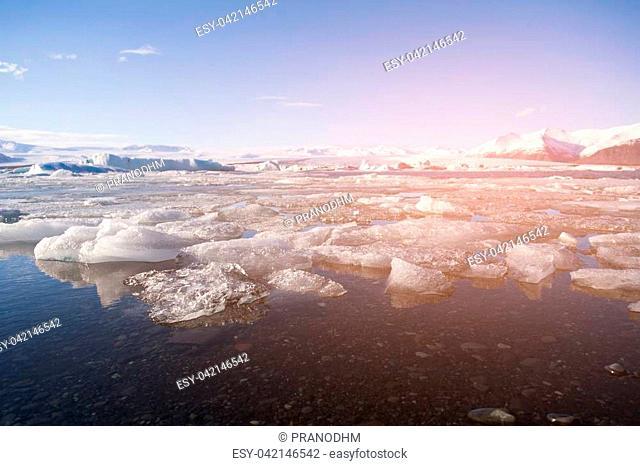 Ice cracked in Jokulsarlon lagoon, winter season natural landscape