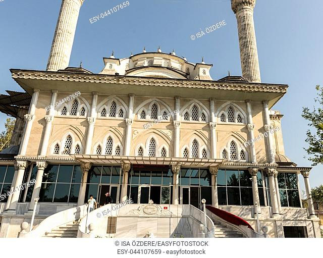 View of Haydarpasa Cami (Haydarpasha mosque). Its minaret collapsed after the hurricane on 27th July 2017 disaster in Istanbul,Turkey