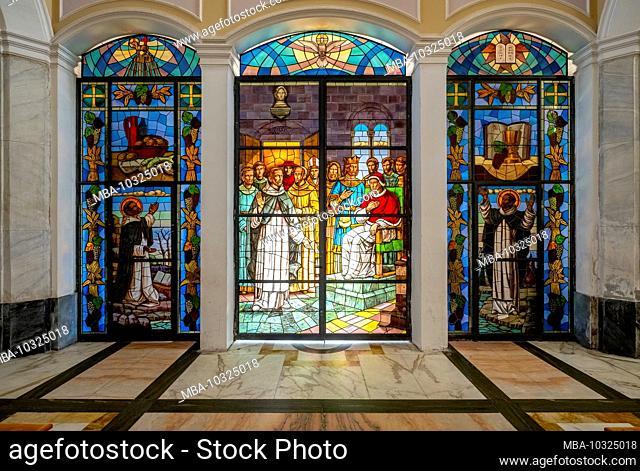 Glass church door in the Chiesa di San Vincenzo Ferreri, leaded glass, Stromboli, Aeolian Islands, Aeolian Islands, Tyrrhenian Sea, Southern Italy, Europe