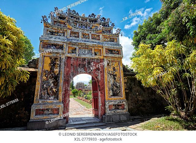 Entrance gate to the Hung To Mieu Temple. Imperial City (The Citadel), Hue, Vietnam
