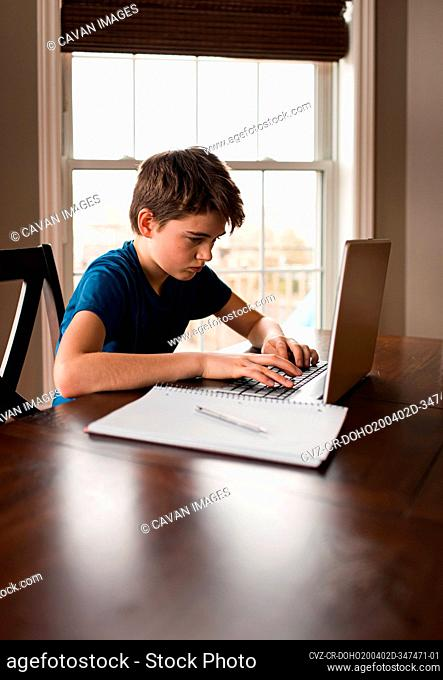 Tween boy working on his homework on a laptop commuter at home