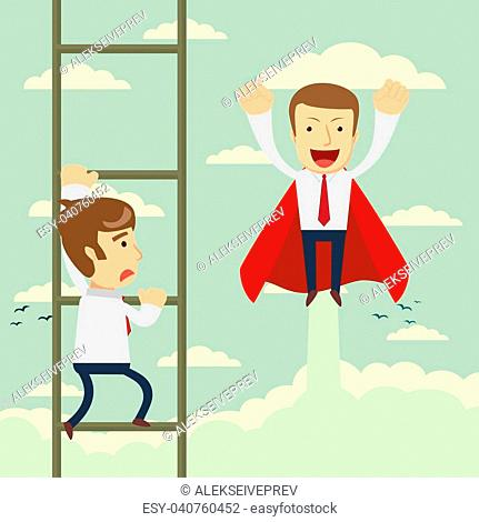 54bafc6049777 Businessman superhero fly pass businessman climbing the ladder. Business  competition concept. Vector illustration
