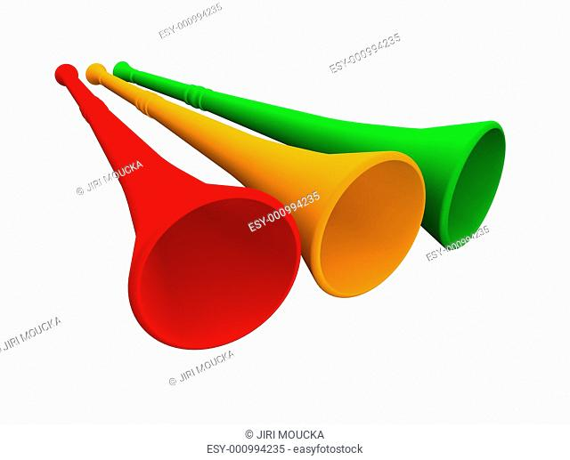 Three vuvuzela trumpets