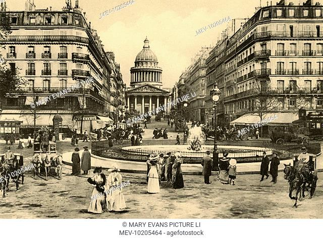 The Pantheon, at the far end of the rue Soufflot, leading off the boulevard Saint- Michel : les jardins du Luxembourg are behind us