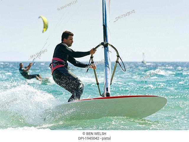 Windsurfers In The Water Off Punta Paloma, Tarifa Cadiz Andalusia Spain