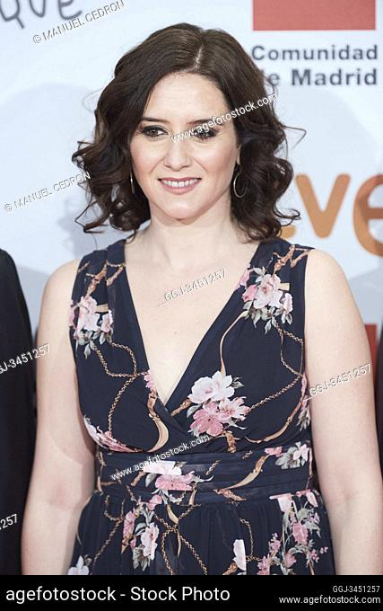 Isabel Diaz Ayuso attends the red carpet during 25th Jose Maria Forque Awards at Palacio de Congresos IFEMA on January 11, 2020 in Madrid, Spain