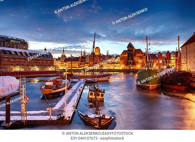Gdansk port in Old town, night winter view