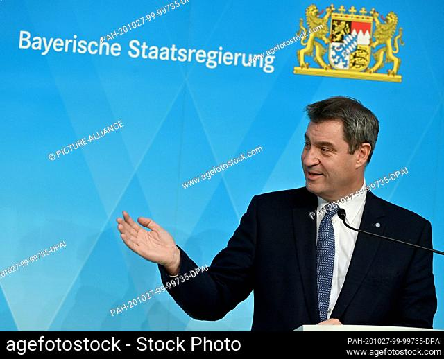 27 October 2020, Bavaria, Munich: Markus Söder (CSU), Minister President of Bavaria, will take part in a press conference following the cabinet meeting