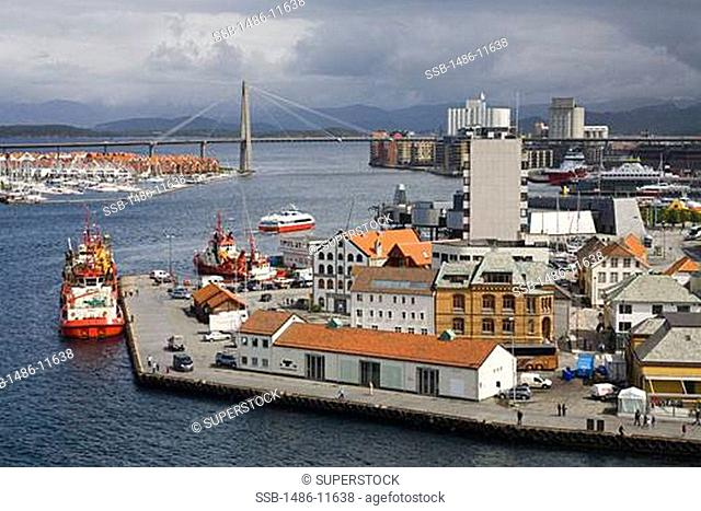 Aerial view of oil rig supply ships at a dock, Stavanger, Rogaland County, Norway