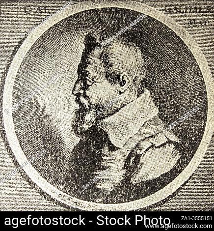 Portrait of Galileo Galilei, Italian astronomer, physicist and engineer. Draw at Autodidactica Dalmau, 1954