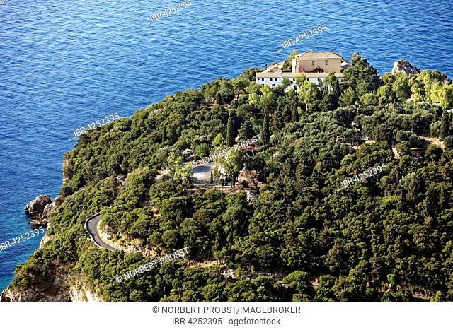 Monastery hill with monastery of Panagia Theotokos tis Paleokastritsas or Panagia Theotokos, Paleokastritsa, Corfu, Ionian Islands, Greece
