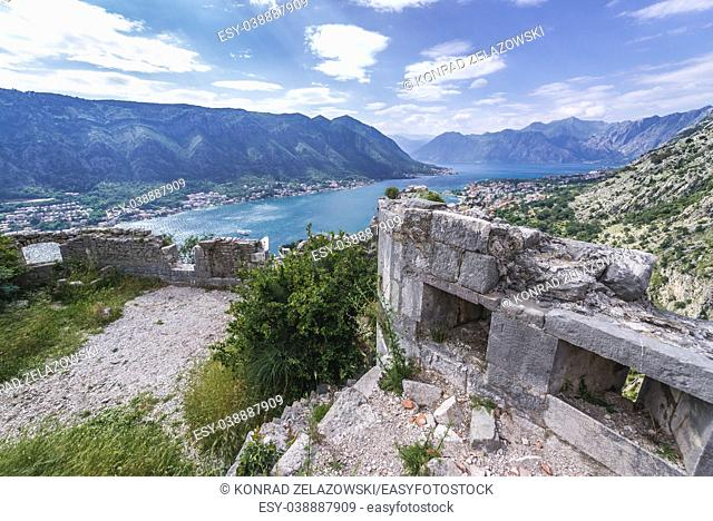 Ruins of Saint John Fortress above Kotor coastal city, located in Bay of Kotor of Adriatic Sea, Montenegro