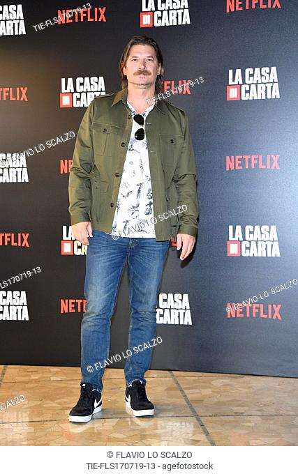 Luka Peros during photocall for the presentation of Spanish TV show 'La Casa de Papel' in Milan, Italy, 17 July 2019