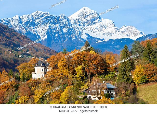 A view towards Mont Charvin (summit) from the medieval town of Conflans in the Savoie district of the French Alps