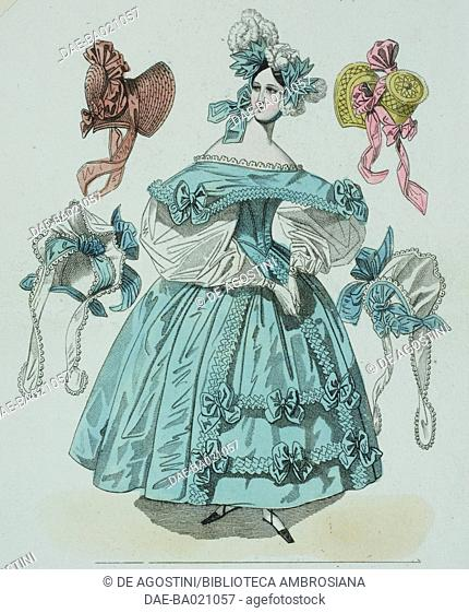 Woman wearing a blue dress decorated with bows, white-puffed sleeves and coloured ribbons and white feathers in her hair