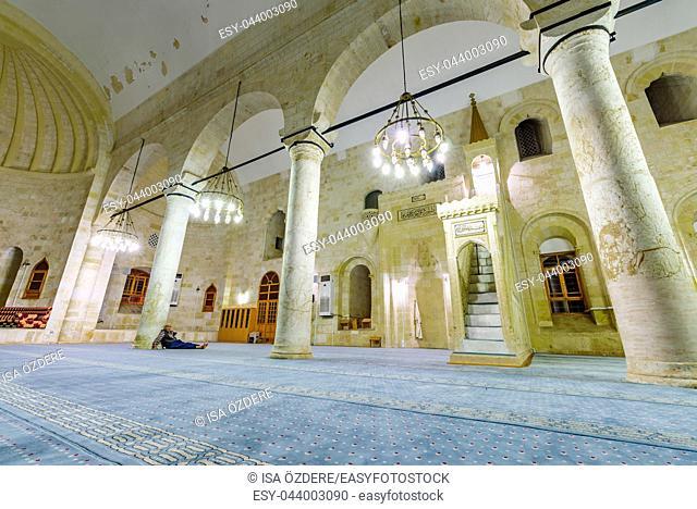 View of ancient Selahaddin Eyyubi Mosque built in 900-1250,Sanliurfa,Turkey. 19 July 2018