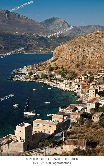 Itylo bay and the fishing village of Limeni, on the Mani peninsular Messinia, Southern Peloponnese, Greece