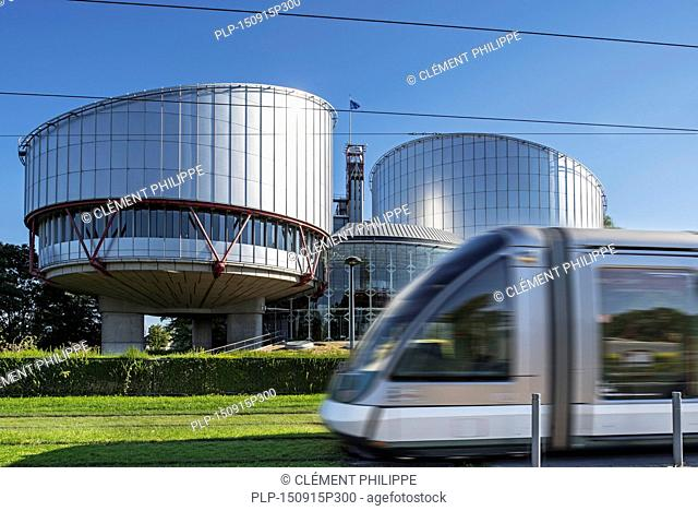 Tram in front of the building of the European Court of Human Rights / ECtHR at Strasbourg, France