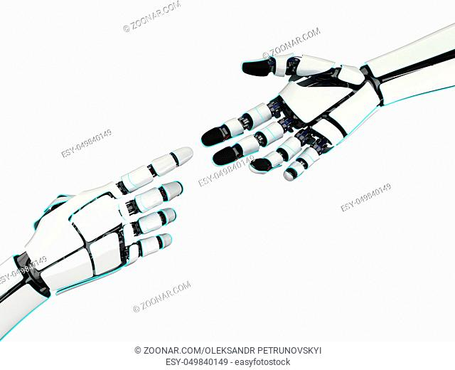3d rendering two hands of a robot isolated on white background