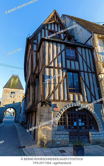 French village Noyers with frame house, Yonne, Bourgogne, France
