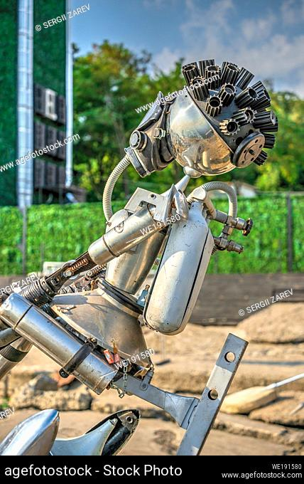 Odessa, Ukraine 09. 03. 2019. Metal sculpture on the Langeron Beach in Odessa, Ukraine, on a sunny summer day
