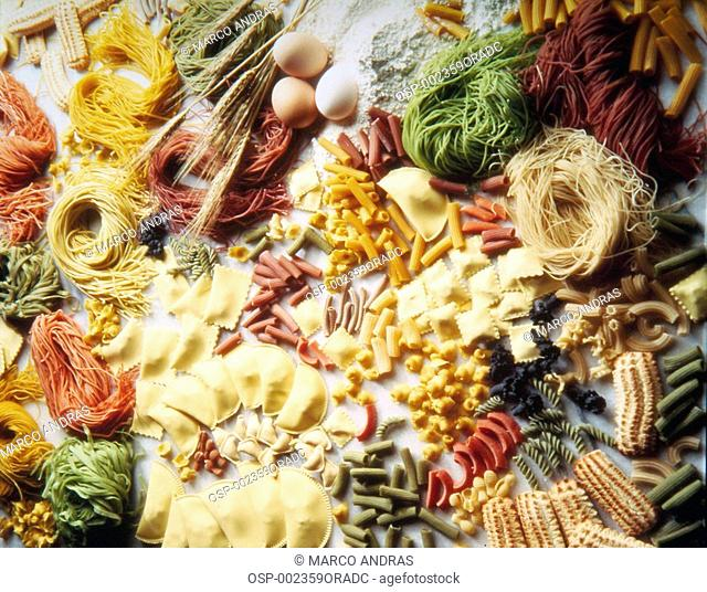 colorful kinds of raw pasta