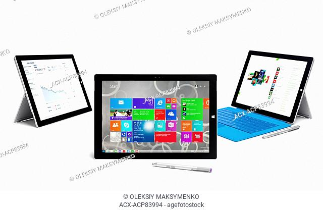 Microsoft Surface Pro 3 tablet computers. Three tablets still life. Isolated on white background
