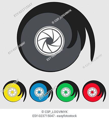 diaphragm icon. Aperture sign. Set colourful buttons