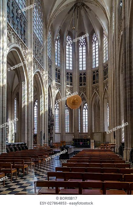Interior of St. Peter's Church, Leuven, Belgium. Built mainly in the 15th century in Brabantine Gothic style