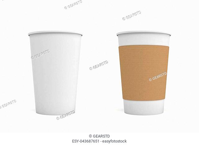3d rendering of two open white coffee cups, one with a carton sleeve on and one empty. Morning coffee. Takeout drinks. Coffee take out and delivery