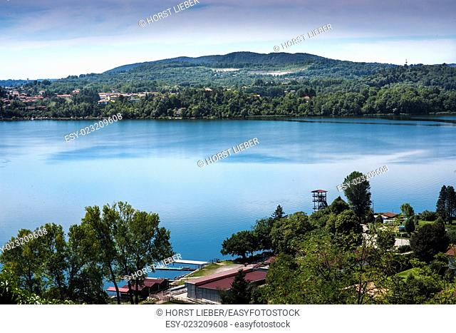 Overlooking Lake Varese at the place Gavirate. Lago di Varese, Varese, Italy