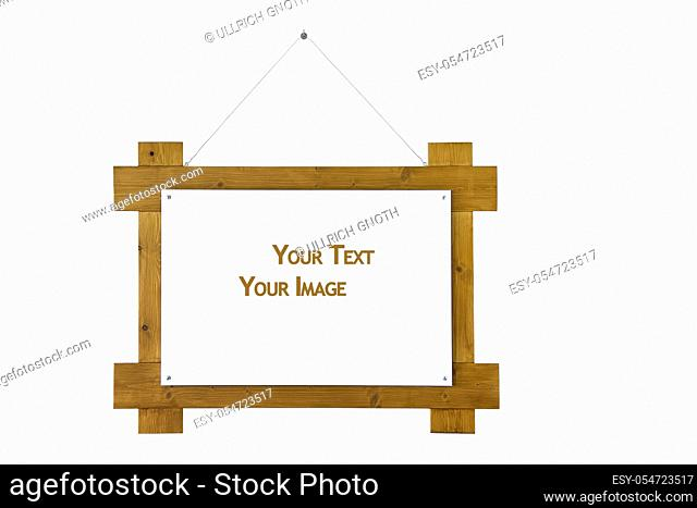 Beautiful wooden frame with empty space for text and images isolated on white
