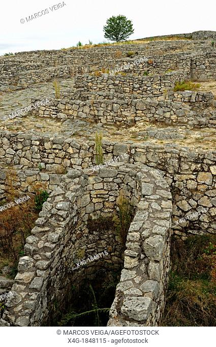 Ruins of the human settlement of Lambrica, the original name of the Castro de San Cibrao de Las  Ourense, Galicia, Spain