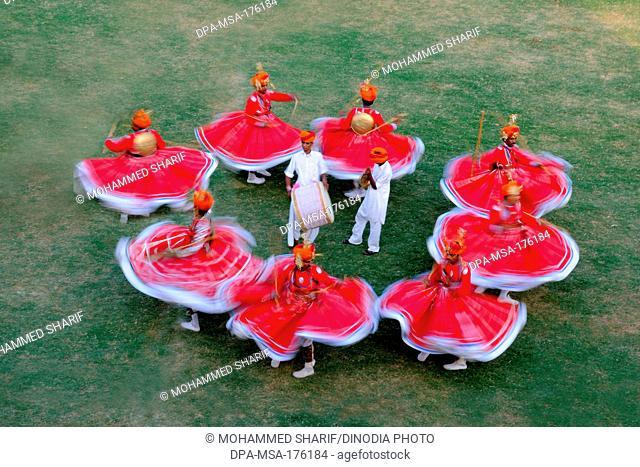Gher folk dancers at marwar festivals , Jodhpur , Rajasthan , India