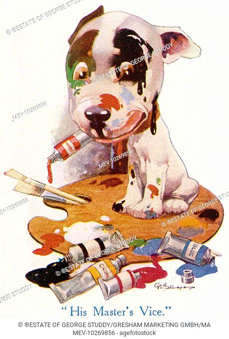 The Studdy Dog, later known as Bonzo, the canine creation of George Studdy featured in an article on animal caricature in The Strand magazine