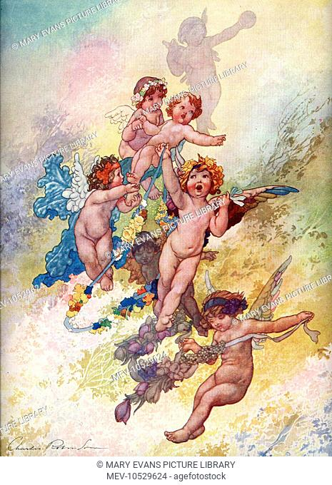 A group of rather rowdy looking cherubs flit around carrying garlands of flowers. By Charles Robinson