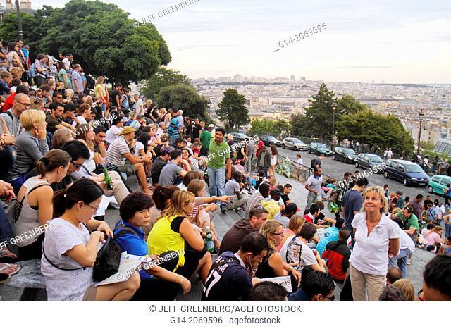 France, Europe, French, Paris, 18th arrondissement, Montmatre, Rue du Cardinal Dubois, view from La Basilique du Sacré-Coeur, Sacred Heart, Roman Catholic