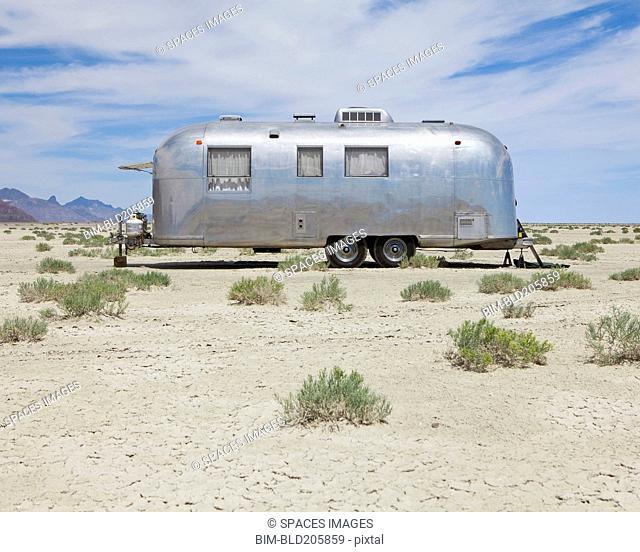 Vintage Airstream trailer on Bonneville Salt Flats