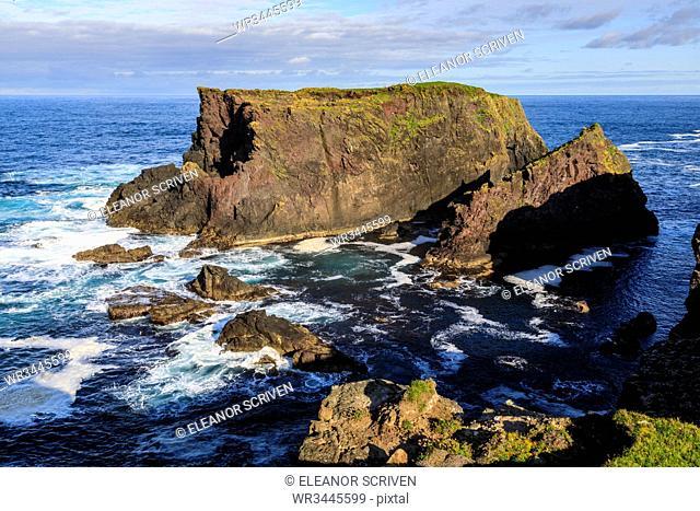 Frothy seas around Moo Stack, Eshaness, jagged cliffs and stacks, Northmavine, Shetland Isles, Scotland, United Kingdom, Europe
