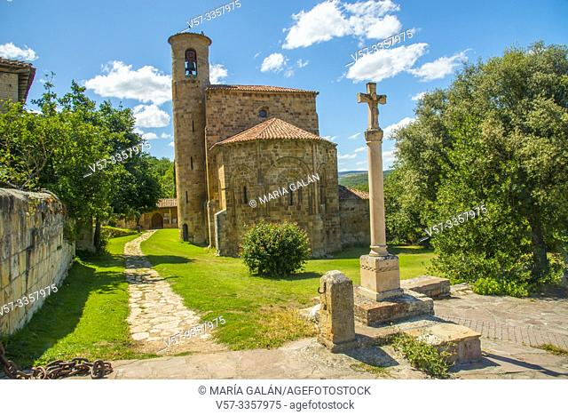 Romanesque collegiate church. San Martin de Elines, Valderredible, Cantabria, Spain