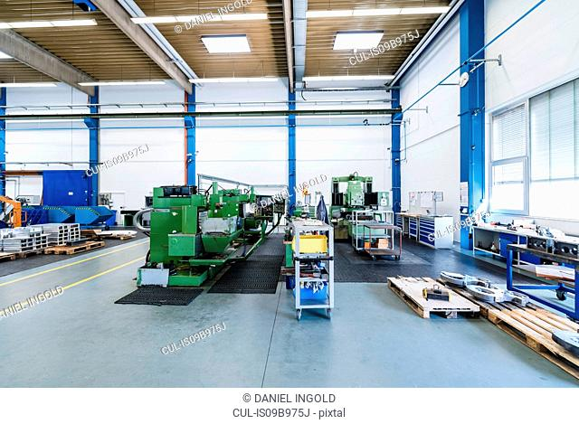 Factory interior with machinery