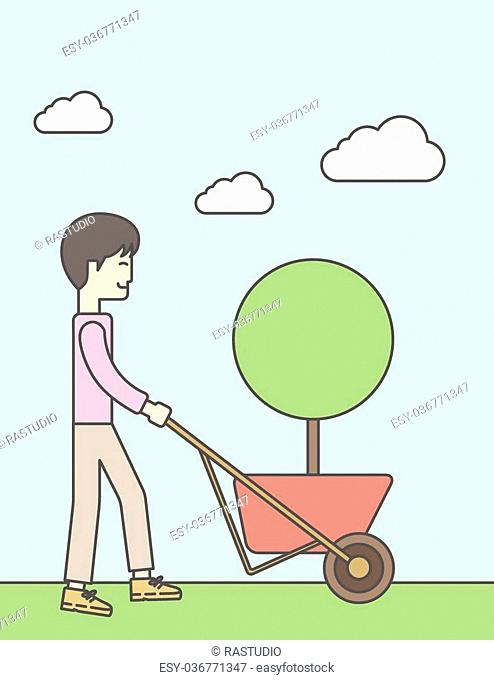 An asian businessman pushing the cart with green tree. Business growth concept. Vector line design illustration. Vertical layout with a text space