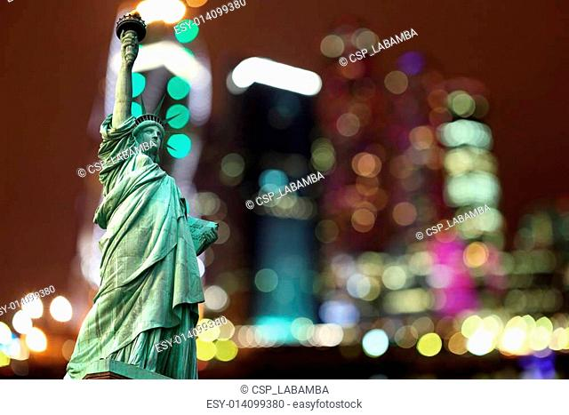 New York Statue of Liberty against night city