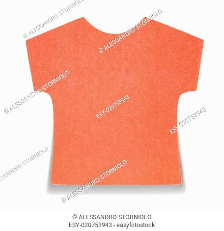 Flat red T-shirt sticky note, isolated on white background, with shadow on bottom