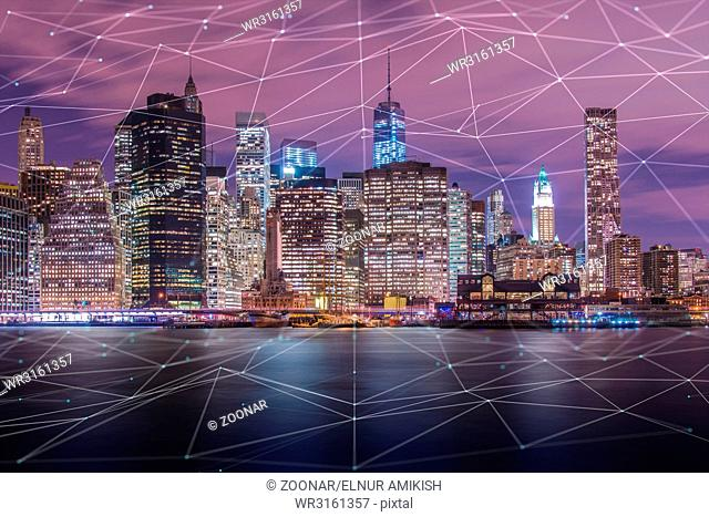 Internet of things IOT concept with city