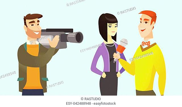 Young caucasian white reporter with a microphone making an interview with asian business woman. Operator filming an interview with journalist and woman