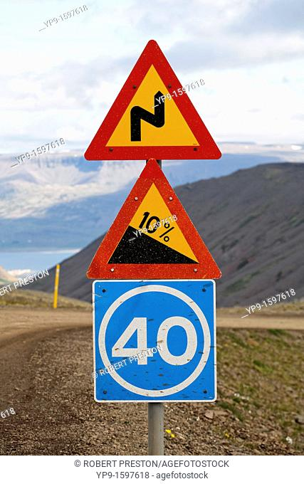 Road sign on a gravel road in the West Fjords, Iceland